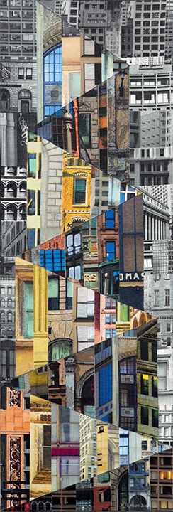 """Patchwork City 25,"" 2016, 36"" x 18"", linen collage."