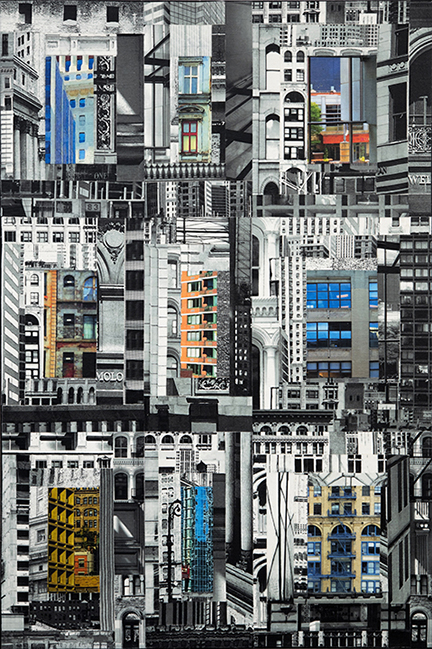 """Patchwork City 26,"" 2016, 36"" x 24"", linen collage."