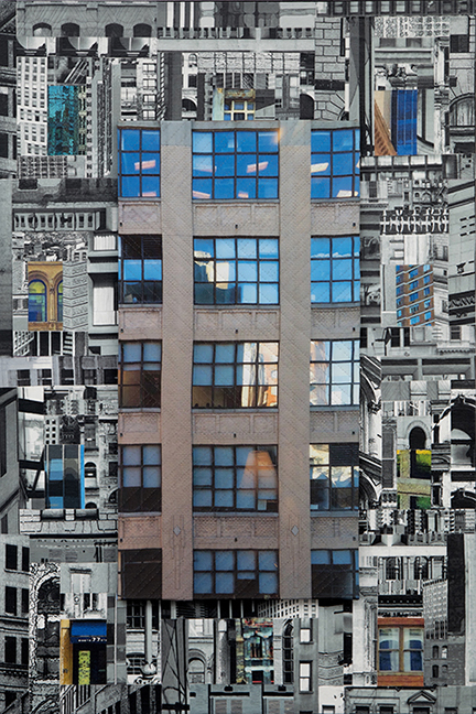 """Patchwork City 28,"" 2016, 36"" x 24"", silk collage with hand quilting."