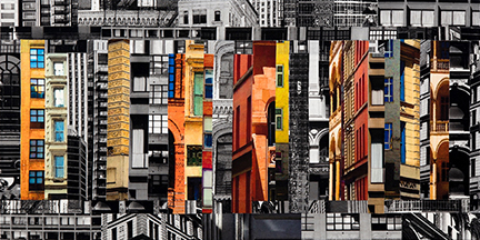 """Patchwork City 60,"" 2016, 36"" x 18"", linen collage."