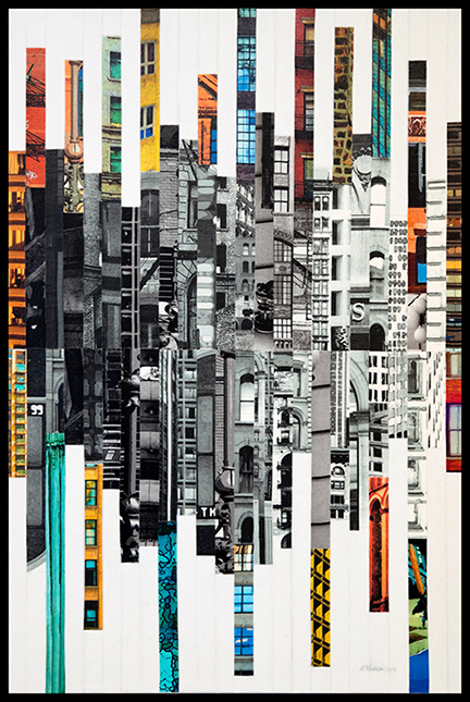 """Patchwork City 65,"" 2017, 36"" x 24"", linen collage."