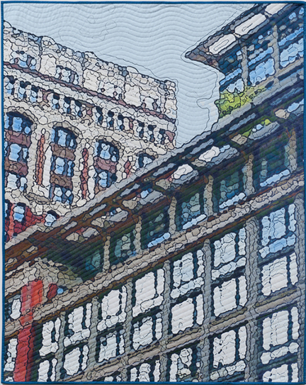 """Broadway Windows,"" 50"" x 40"" , digitally manipulated photography, inkjet printing on cotton, hand quilting."